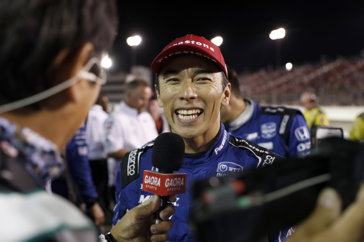 FILE - In a Saturday, Aug. 24, 2019 file photo, Takuma Sato smiles as he is interviewed after winning the IndyCar auto race at World Wide Technology Raceway in Madison, Ill. Takuma Sato will return to Rahal Letterman Lanigan Racing next season. Rahal said Saturday, Sept. 21, 2019 it had picked up the option for next year on Sato(AP Photo/Jeff Roberson, File)