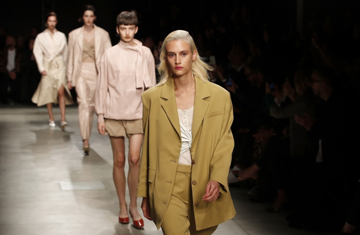 Models wear creations as part of the Drome women's Spring Summer 2020 collection, unveiled during the Fashion Week in Milan, Italy, Sunday, Sept. 22, 2019. (AP Photo/Antonio Calanni)