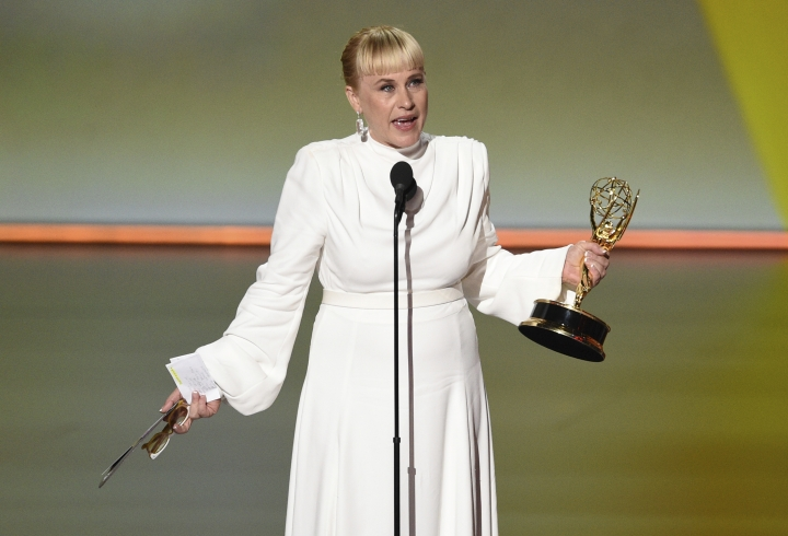 """Patricia Arquette accepts the award for outstanding supporting actress in a limited series or movie for """"The Act"""" at the 71st Primetime Emmy Awards on Sunday, Sept. 22, 2019, at the Microsoft Theater in Los Angeles. (Photo by Chris Pizzello/Invision/AP)"""