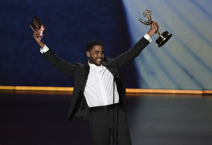 "Jharrel Jerome accepts the award for outstanding lead actor in a limited series or movie for ""When They See Us"" at the 71st Primetime Emmy Awards on Sunday, Sept. 22, 2019, at the Microsoft Theater in Los Angeles. (Photo by Chris Pizzello/Invision/AP)"