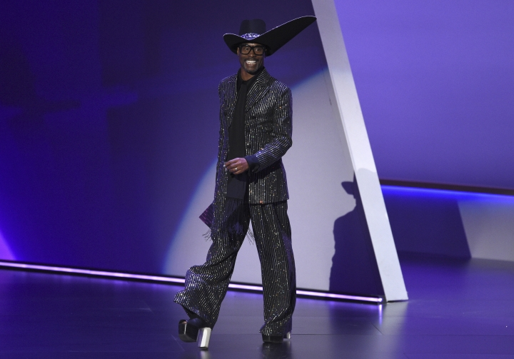 Billy Porter appears on stage to present the award for outstanding variety talk series at the 71st Primetime Emmy Awards on Sunday, Sept. 22, 2019, at the Microsoft Theater in Los Angeles. (Photo by Chris Pizzello/Invision/AP)