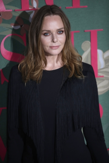 Designer Stella McCartney poses for photographers upon arrival at the Green Carpet Fashion Awards in Milan, Italy, Sunday, Sept. 22, 2019. (AP Photo/Luca Bruno)