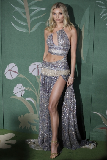 Model Elsa Hosk poses for photographers upon arrival at the Green Carpet Fashion Awards in Milan, Italy, Sunday, Sept. 22, 2019. (AP Photo/Luca Bruno)