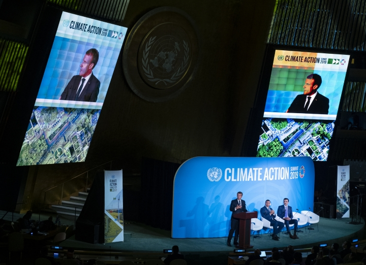 French President Emmanuel Macron speaks during the Climate Action Summit 2019 at the 74th session of the United Nations General Assembly, at U.N. headquarters, Monday, Sept. 23, 2019. Emir of Qatar, Sheikh Tamim bin Hamad Al Thani is center and Jamaica Prime Minister Andrew Holness is right. (AP Photo/Craig Ruttle)