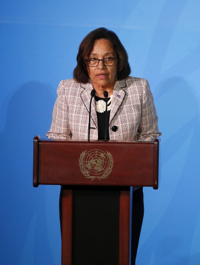 Marshall Islands' President Hilda Heine addresses the Climate Action Summit in the United Nations General Assembly, at U.N. headquarters, Monday, Sept. 23, 2019. (AP Photo/Jason DeCrow)