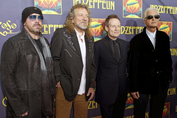 "FILE - This Oct. 9, 2012 file photo shows, from left, Jason Bonham, son of the late Led Zeppelin drummer John Bonham; singer Robert Plant; bassist John Paul Jones; and guitarist Jimmy Page at the ""Led Zeppelin: Celebration Day"" premiere in New York. Members of an 11-judge panel of the 9th U.S. Circuit Court of Appeals harshly challenged plaintiffs who argued that a new trial in the copyright fight over Led Zeppelin's ""Stairway to Heaven is justified. The lawsuit that alleges 1971's ""Stairway"" was stolen from 1968's ""Taurus,"" by Spirit. (Photo by Dario Cantatore/Invision/AP, File)"