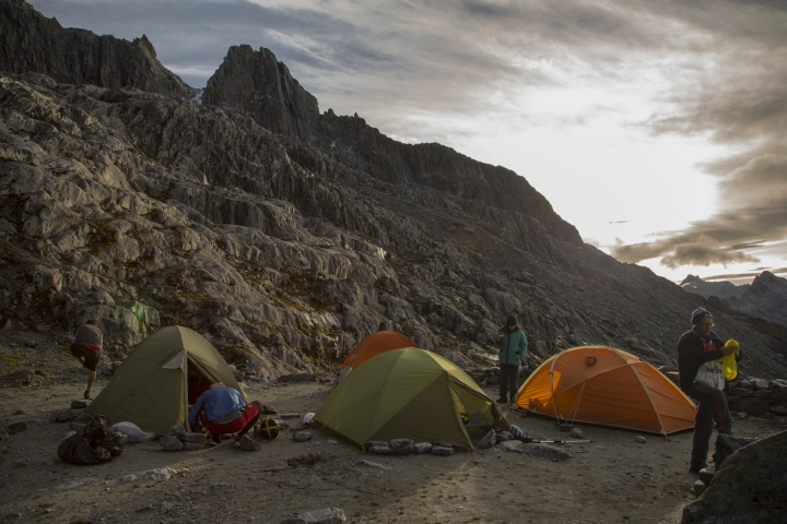 In this May 26, 2019 photo, scientists gather at their camp in the early morning before starting a four-day mission to the Humboldt glacier, in Merida, Venezuela. Temperatures are warming faster at the Earth's higher elevations than in lowlands, and scientists predict that the glacier _ an ice sheet in the Andes Mountains _ could be gone within two decades. (AP Photo/Jose Manuel Romero)