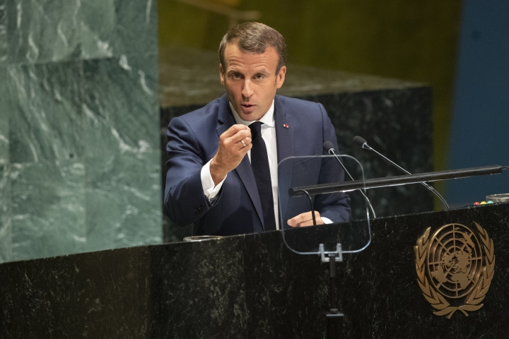 French President Emmanuel Macron addresses the 74th session of the United Nations General Assembly at U.N. headquarters Tuesday, Sept. 24, 2019. (AP Photo/Mary Altaffer)
