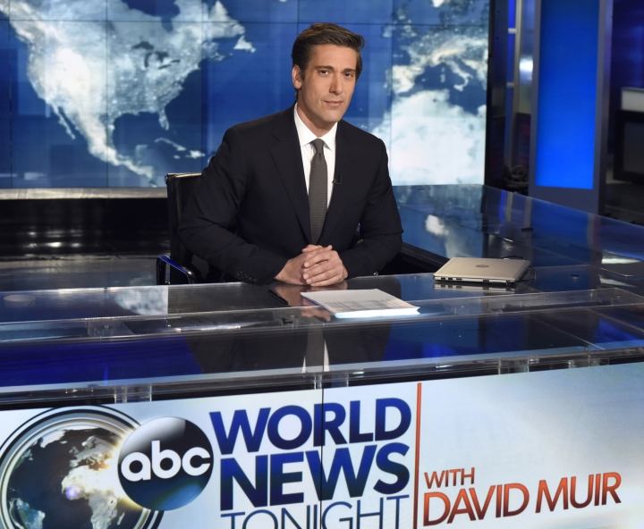 "This undated image released by ABC shows anchor David Muir on the set of ""World News Tonight with David Muir,"" in New York. After five years at ""World News Tonight,"" Muir has a milestone that's increasingly rare in television. His average audience is actually larger than it used be. ABC is finishing the TV season with its largest lead over NBC in 23 years, and 27 years for CBS. It's the third straight year ABC has won the ratings competition.(Ida Mae Astute/ABC via AP)"