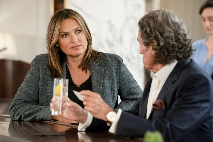 "This image released by NBC shows Mariska Hargitay, left, and Ian McShane in a scene from ""Law & Order: SVU. The show's 21st season premieres on Sept. 26. (Photo by: Virginia Sherwood/NBC)"