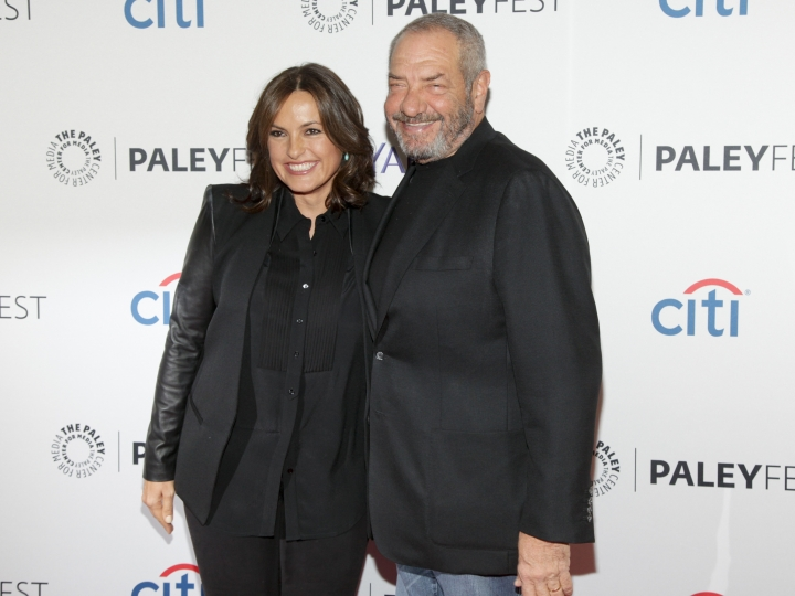 "FILE - This Oct. 13, 2014 file photo shows Mariska Hargitay, left, and Dick Wolf, at the PaleyFest New York ""Law & Order: SVU"" panel discussion in New York. The show's 21st season premieres on Sept. 26. (Photo by Andy Kropa/Invision/AP, File)"