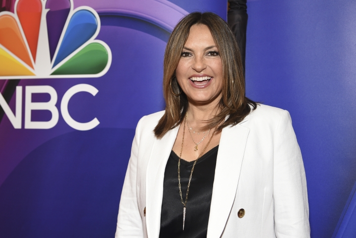 "FILE - This May 13, 2019 file photo shows Mariska Hargitay, of ""Law & Order: Special Victims Unit,"" at the NBC 2019/2020 Upfront in New York. The show's 21st season premieres on Sept. 26. (Photo by Evan Agostini/Invision/AP, File)"