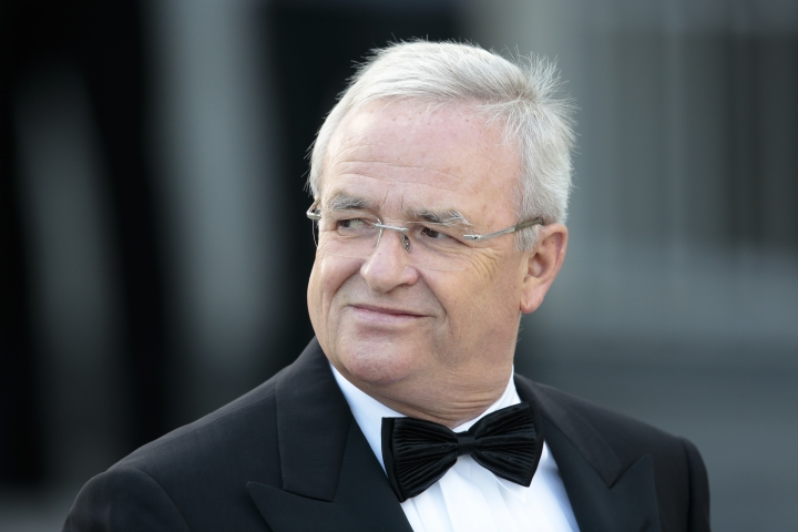 FILE - In this June 24, 2015 file picture then Martin Winterkorn CEO of German car maker arrives for a state dinner at Germany's President Joachim Gauck's residence, Bellevue Palace, in Berlin. German prosecutors say they have charged Volkswagen chief executive Herbert Diess and chairman Hans Dieter Poetsch, along with former CEO Martin Winterkorn, with market manipulation in connection with the diesel emissions scandal that erupted in 2015. (AP Photo/Markus Schreiber, File)