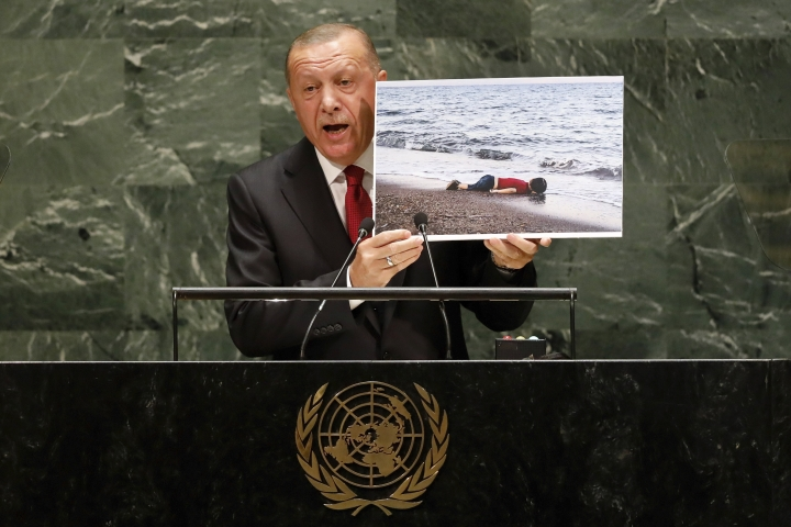 Turkey's President Recep Tayyip Erdogan addresses the 74th session of the United Nations General Assembly, Tuesday, Sept. 24, 2019. (AP Photo/Richard Drew)