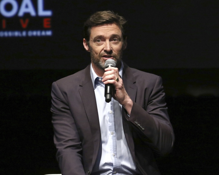 """Hugh Jackman participates in the Global Citizens """"Global Goal Live: The Possible Dream"""" press conference at St. Ann's Warehouse on Thursday, Sept. 26, 2019, in New York. (Photo by Greg Allen/Invision/AP)"""