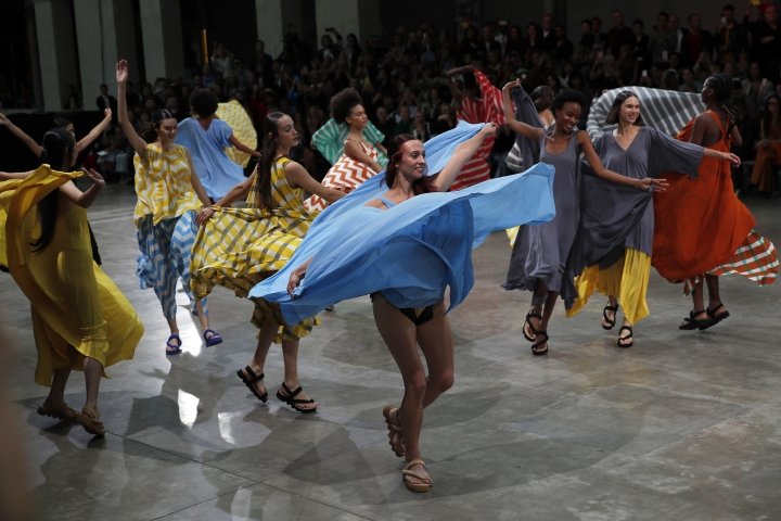 Models wear a creation as part of the Issey Miyake Ready To Wear Spring-Summer 2020 collection, unveiled during the fashion week, in Paris, Friday, Sept. 27, 2019. (AP Photo/Francois Mori)