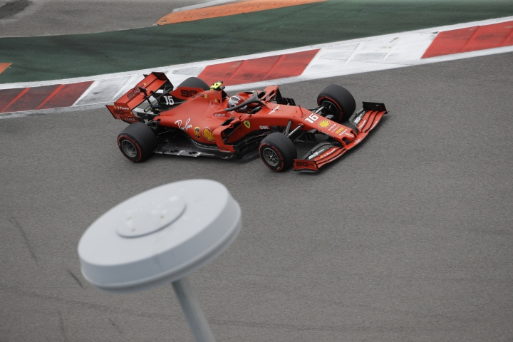 Ferrari driver Charles Leclerc of Monaco steers his racer during the third free practice at the 'Sochi Autodrom' Formula One circuit, in Sochi, Russia, Saturday Sept. 28, 2019. The Formula one race will be held on Sunday. (AP Photo/Luca Bruno)