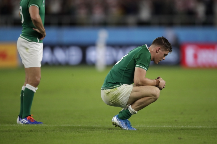 Ireland's Garry Ringrose reacts following his teams 19-12 loss in the Rugby World Cup Pool A game at Shizuoka Stadium Ecopa against Japan in Shizuoka, Japan, Saturday, Sept. 28, 2019. (AP Photo/Jae Hong)