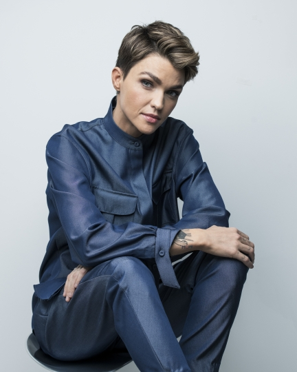 "This Sept. 30, 2019 photo shows actress Ruby Rose posing for a portrait in New York to promote her CW series ""Batwoman,"" premiering on Oct. 6. (Photo by Drew Gurian/Invision/AP)"