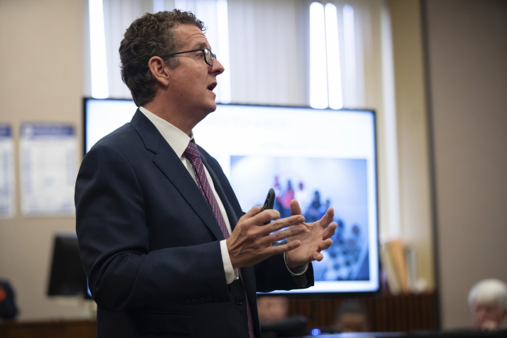 Attorney Todd Pugh makes closing arguments in defense of Corey Morgan in his trial for the murder of 9-year-old Tyshawn Lee at the Leighton Criminal Court Building in Chicago on Thursday, October 3, 2019. Dwright Doty and Corey Morgan are on trial after being with first-degree murder in the 2015 slaying. Judge Thaddeus Wilson is presiding over the case. (E. Jason Wambsgans/Chicago Tribune via AP, Pool)