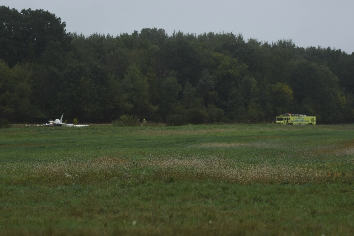 The site just west of Capital Region International Airport where a small plane crashed Thursday, Oct. 3, 2019. Three are dead, three were taken to Sparrow hospital in Lansing with critical injuries. (Matthew Dae Smith/Lansing State Journal via AP)