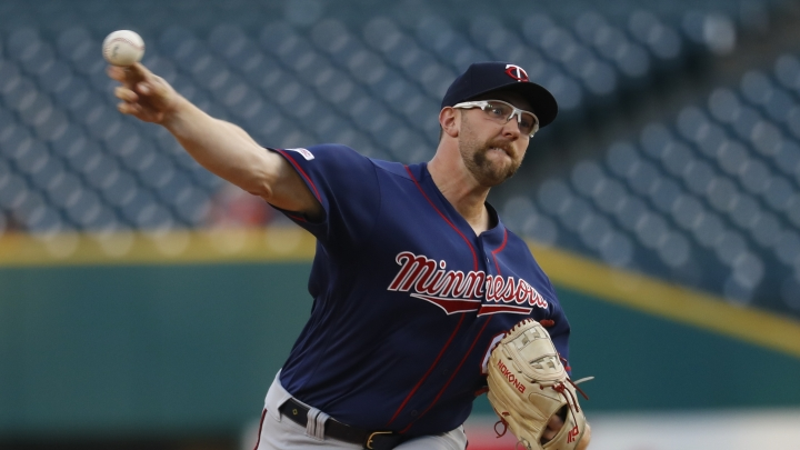 Minnesota Twins pitcher Randy Dobnak throws against the Detroit Tigers in the first inning of a baseball game in Detroit, Wednesday, Sept. 25, 2019. (AP Photo/Paul Sancya)