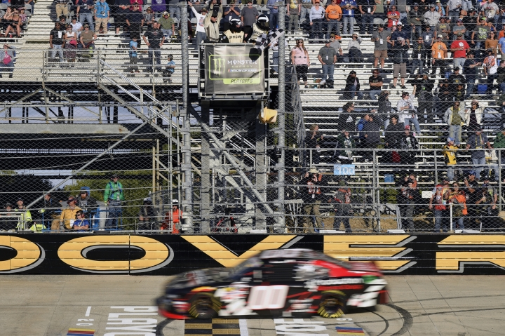 Cole Custer wins the 34th Annual Use Your Melon Drive Sober 200 at the NASCAR Xfinity Series Playoff Race, Saturday, Oct. 5, 2019, in Dover, Del. (AP Photo/Brien Aho)