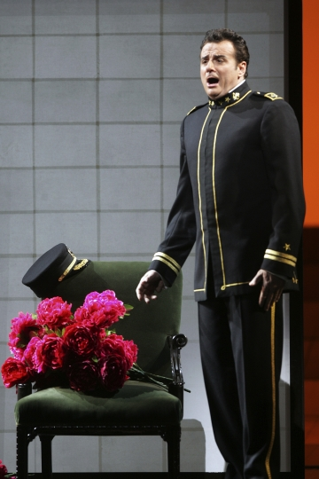 "FILE - In this Sept. 22, 2006, file photo, Marcello Giordani performs as Lt. B. F. Pinkerton in the final dress rehearsal of Giacomo Puccini's ""Madama Butterfly"" or ""Madame Butterfly"" at the Metropolitan Opera, in New York. Tenor Marcello Giordani, renowned for a voice of beauty and heft that made him a star at the world's top opera houses, died Saturday, Oct. 5, 2019. He was 56. (AP Photo/Mary Altaffer, File)"