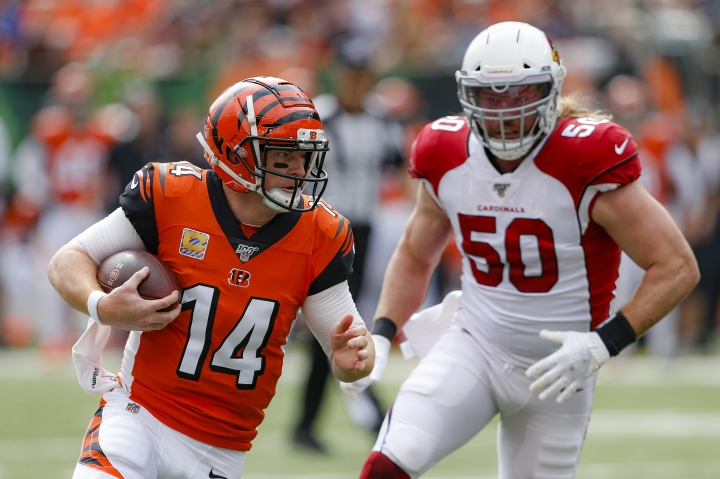 Cincinnati Bengals quarterback Andy Dalton (14) runs the ball past Arizona Cardinals linebacker Brooks Reed (50) in the first half of an NFL football game, Sunday, Oct. 6, 2019, in Cincinnati. (AP Photo/Gary Landers)