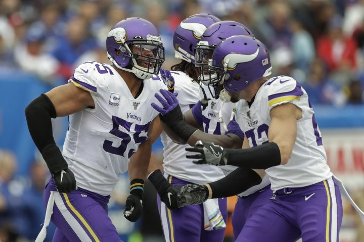 Minnesota Vikings outside linebacker Anthony Barr (55) celebrates with teammates after tackling New York Giants running back Jon Hilliman for a safety during the second quarter of an NFL football game, Sunday, Oct. 6, 2019, in East Rutherford, N.J. (AP Photo/Adam Hunger)