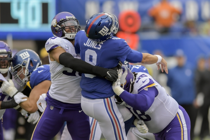 New York Giants quarterback Daniel Jones (8) is sacked by the Minnesota Vikings during the first quarter of an NFL football game, Sunday, Oct. 6, 2019, in East Rutherford, N.J. (AP Photo/Bill Kostroun)