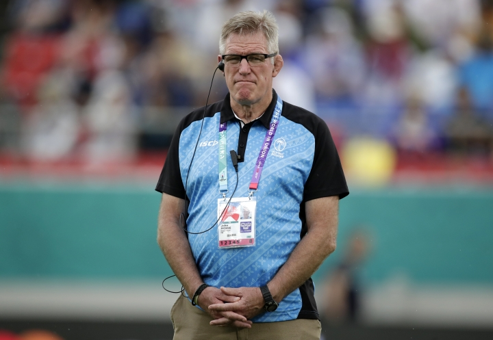 Fiji's Coach John McKee watches his players warm up ahead of the Rugby World Cup Pool D game at Hanazono Rugby Stadium between Georgia and Fiji in Osaka, Japan, Thursday, Oct. 3, 2019. (AP Photo/Jae C. Hong)