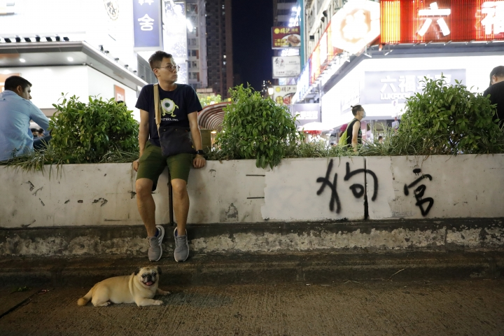 "FILE - In this Oct 4, 2019, file photo, a man rests near a dog and the graffiti which reads ""Dog Official"" in Hong Kong. Hong Kong's embattled leader Carrie Lam said Tuesday that the city's economy is being battered by months of increasingly violent protests. (AP Photo/Vincent Thian, File)"