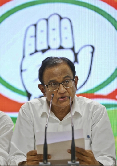 FILE - In this Wednesday, Aug. 21, 2019, file photo, Congress party leader and former Indian finance minister P. Chidambaram addresses the media at the party headquarters in New Delhi, India. The current state of India's main opposition Congress party is so dire, a senior party leader says it is losing so many members and support it may not be able to win upcoming state elections or ensure its own future. Top party leader Chidambaram has been arrested for alleged economic offenses by the Modi government, adding woes to the party. (AP Photo)