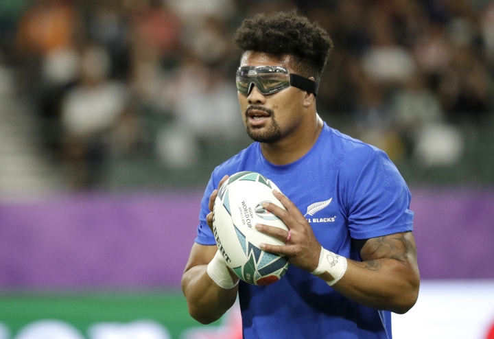 New Zealand's Ardie Savea catches the ball as he warms up with his teammates ahead of the Rugby World Cup Pool B game at Oita Stadium between New Zealand and Canada in Oita, Japan, Wednesday, Oct. 2, 2019. (AP Photo/Aaron Favila)