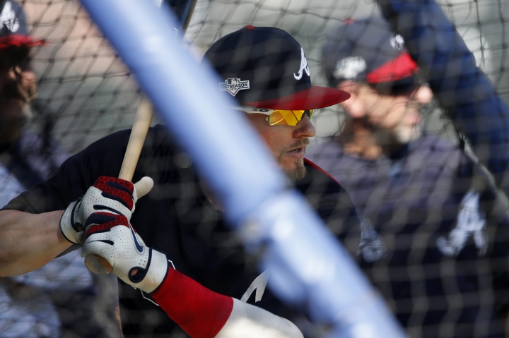 Atlanta Braves third baseman Josh Donaldson (20) takes batting practice Tuesday, Oct. 8, 2019, in Atlanta. The Braves will face the St. Louis Cardinals in Game 5 of the NLCS Wednesday in Atlanta. (AP Photo/John Bazemore)