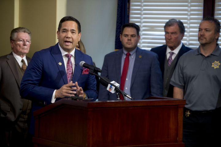 Utah Attorney General Sean Reyes talks about the case against Paul D. Petersen during a news conference in Salt Lake City, Utah, on Wednesday, Oct. 9, 2019. Petersen is charged with human smuggling, sale of a child and communications fraud. (Jeremy Harmon/The Salt Lake Tribune via AP)
