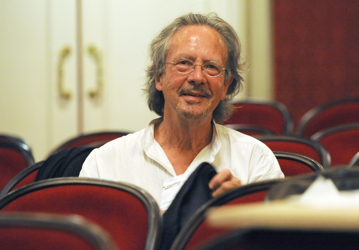 """FILE - In this Friday Aug. 7, 2009 file photo, Austrian author Peter Handke attends a dress rehearsal of Samuel Beckett's and Peter Handke's drama """"Krapp's Last Tape/ Until Day Do You Part or A Question of Light"""" on in Salzburg, Austria. The winner of the 2019 Nobel Prize in literature is Austrian author Peter Handke. (AP Photo/Kerstin Joensson, File)"""