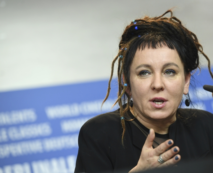 FILE -- In this Feb. 12, 2017 photo Polish author Olga Tokarczuk spekas during a press conference in Berlin, Germany. Olga Tokarczuk is named recipient of the 2018 Nobel Prize in Literature, Thursday Oct. 10, 2019. Two Nobel Prizes in literature are announced Thursday after the 2018 literature award was postponed following sex abuse allegations that rocked the Swedish Academy at that time. (Britta Pedersen/dpa via AP)