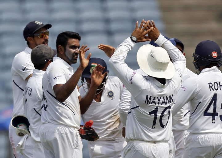 India's Ravichandran Ashwin celebrates the wicket of South Africa's Faf du Plessis during the fourth day of second cricket test match between India and South Africa in Pune, India, Sunday, Oct. 13, 2019. (AP Photo/Rajanish Kakade)