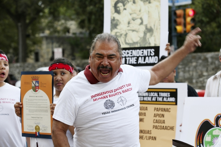 Antonio Diaz, founder of the Texas Indigenous Council, addresses the media during a newss conference by the U.S. Postal Service building across the Alamo, Monday, Oct. 14, 2019 in San Antonio. A Native American group is calling on officials to slow down the renovation of the Alamo church in San Antonio, after archaeological reports showed human remains were found at the property. (Jerry Lara/The San Antonio Express-News via AP)