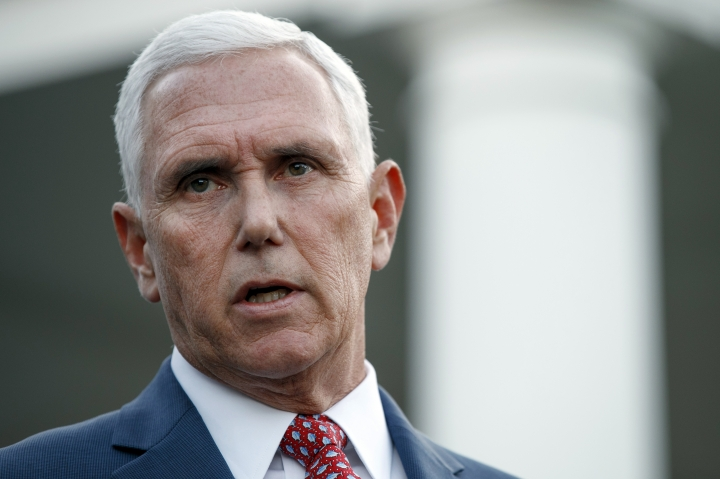 Vice President Mike Pence speaks to reporters outside the West Wing of the White House, Monday, Oct. 14, 2019, in Washington. The U.S. is calling for an immediate ceasefire in Turkey's strikes against Kurds in Syria, and is sending Pence to lead mediation effort (AP Photo/Jacquelyn Martin)
