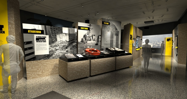 "In this artist's rendering provided by C&G Partners, the exhibit ""Revealed: The Hunt for Bin Laden,"" is shown at the National September 11 Museum in New York. Newly declassified U.S. government artifacts are part of the exhibit, opening Nov. 15, 2019, that traces the decade-long, secret search for Osama bin Laden at the site of the New York terrorist attack he commandeered. (C&G Partners via AP)"