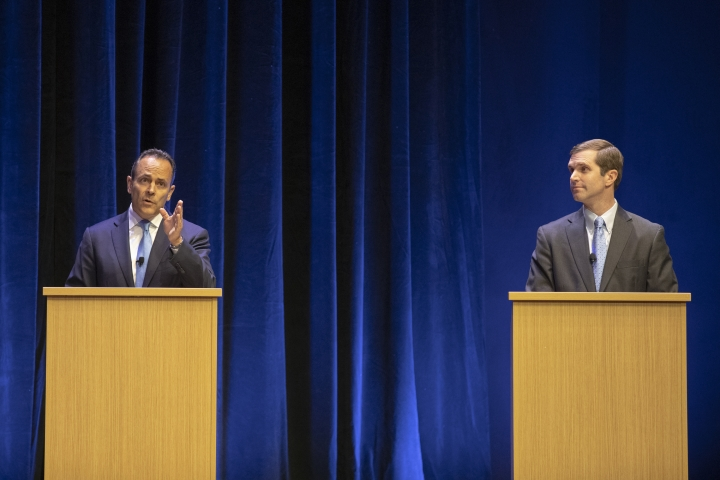 FILE - In a Tuesday, Oct. 15, 2019 file photo, Republican Gov. Matt Bevin, left, and Democratic Attorney General Andy Beshear participate in a debate on the University of Kentucky campus in Lexington, Ky. In a Saturday, Oct. 26, 2019 debate, Gov. Matt Bevin denied claiming in a radio interview months ago that suicides happen on a nightly basis in casinos and challenged his Democratic opponent to produce a tape proving him wrong. Beshear responded that Bevin's remarks are on tape. Beshear's campaign produced the audiotape Sunday in a social media post.(Ryan C. Hermens/Lexington Herald-Leader via AP, Pool, File)
