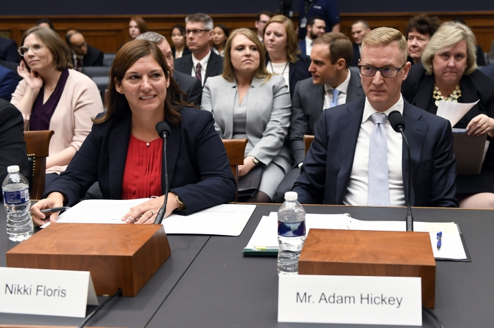FILE - In this Oct. 22, 2019, file photo, Deputy Assistant Director for Counterterrorism at the FBI Nikki Flores, left, and Deputy Assistant Attorney General for National Security Adam Hickey, right, wait to testify before the House Judiciary Committee hearing on Capitol Hill in Washington, on election security. Russia interfered in the 2016 election and may try to sway next year's vote as well. But it's not the only nation with an eye on U.S. politics. American officials sounding the alarm about efforts to disrupt the 2020 election include multiple countries in that warning. (AP Photo/Susan Walsh)