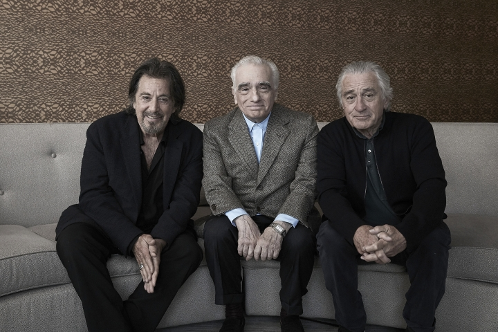 "This Sept. 30, 2019 photo shows actor Al Pacino, from left, director Martin Scorsese, and actor Robert De Niro posing for a portrait to promote their upcoming film ""The Irishman"" in New York. (Photo by Victoria Will/Invision/AP)"