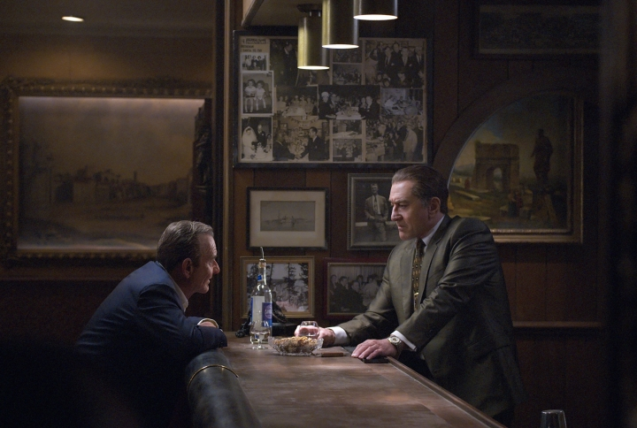"This image released by Netflix shows Joe Pesci, left, and Robert De Niro in a scene from ""The Irishman."" (Niko Tavernise/Netflix via AP)"