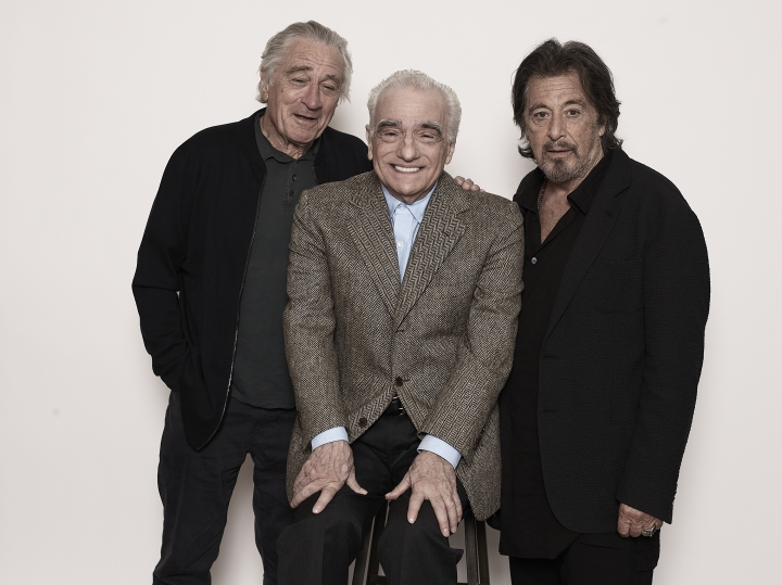 "This Sept. 30, 2019 photo shows actor Al Pacino, from right, director Martin Scorsese, and actor Robert De Niro posing for a portrait to promote their upcoming film ""The Irishman"" in New York. (Photo by Victoria Will/Invision/AP)"