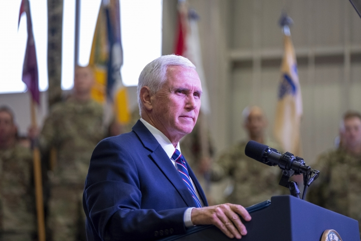 U.S. Vice President Mike Pence announces the death of ISIS leader, Abu Bakr al-Baghdadi to a crowd of more than a thousand active duty soldiers and civilians on Fort Hood on Tuesday, Oct. 29, 2019.(Jeromiah Lizama/The Killeen Daily Herald via AP)