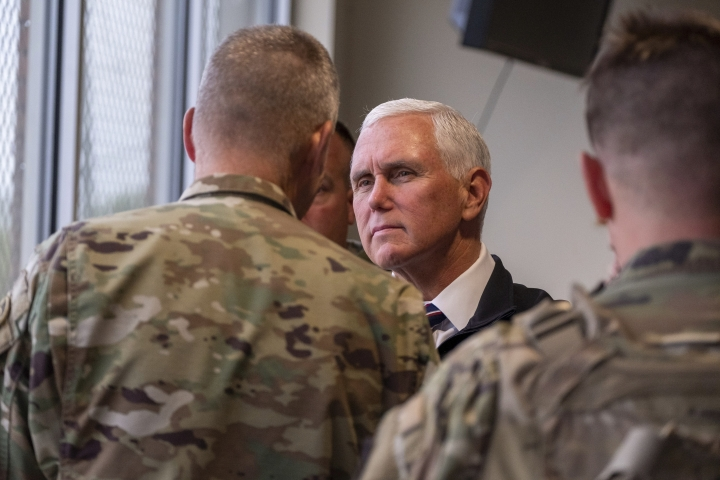 Vice President Mike Pence observes Abrams A1 live fire training on Fort Hood, Texas on Tuesday, Oct. 29, 2019. (Jeromiah Lizama/The Killeen Daily Herald via AP)